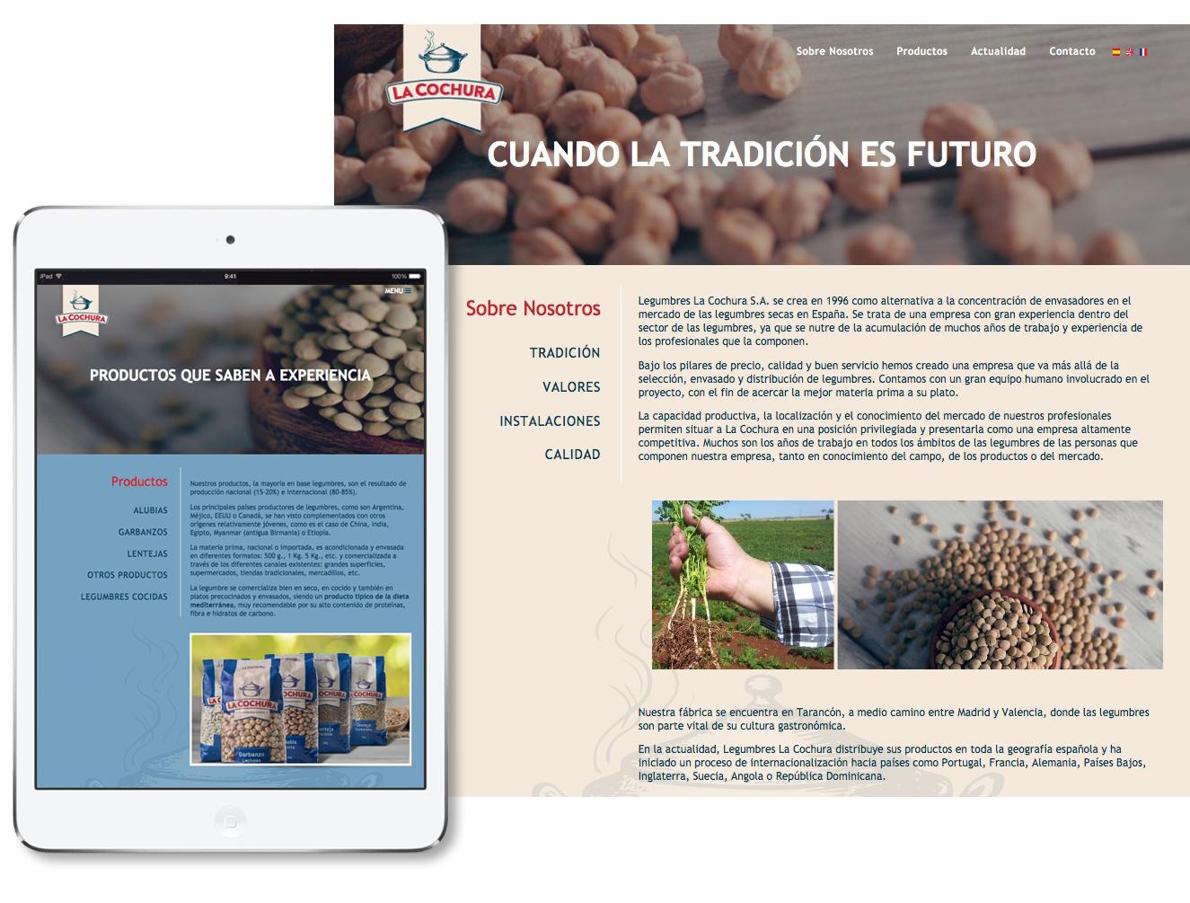 diseño página web responsive para La Cochura